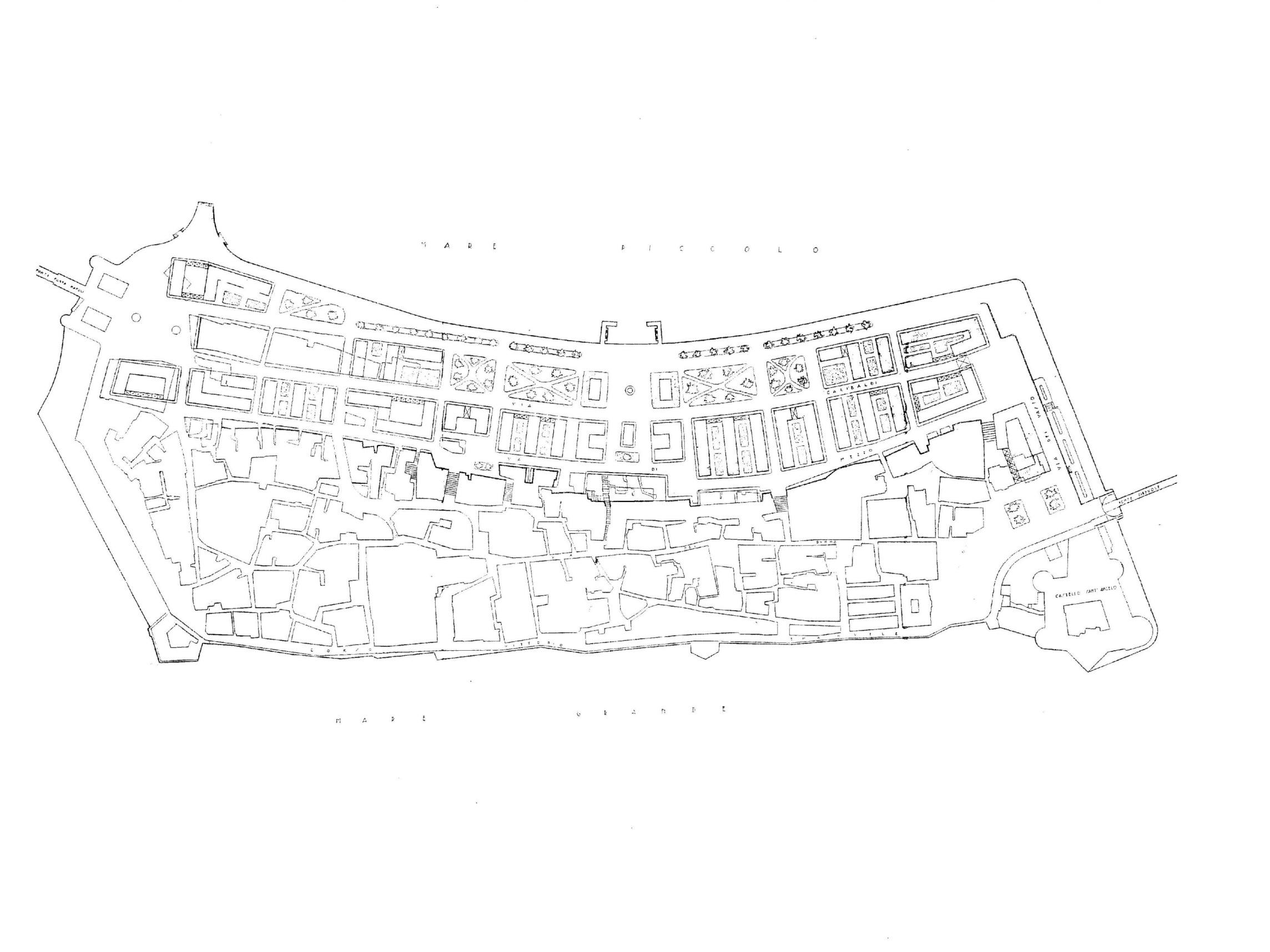Piante archeologia storia architettura a taranto for Grande planimetria della camera singola storia